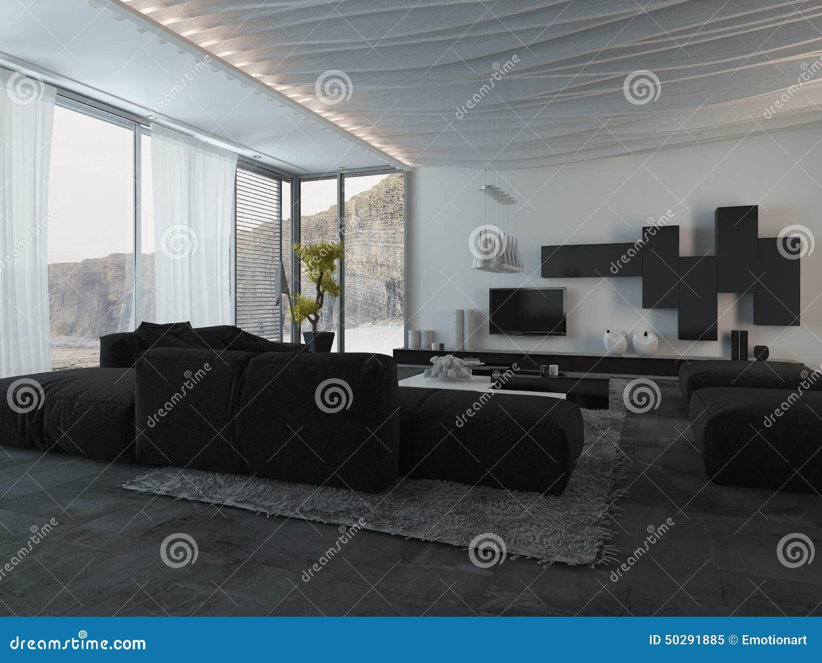 Schwarze Möbel Am Wohnzimmer Stock Abbildung - Illustration von idee ...