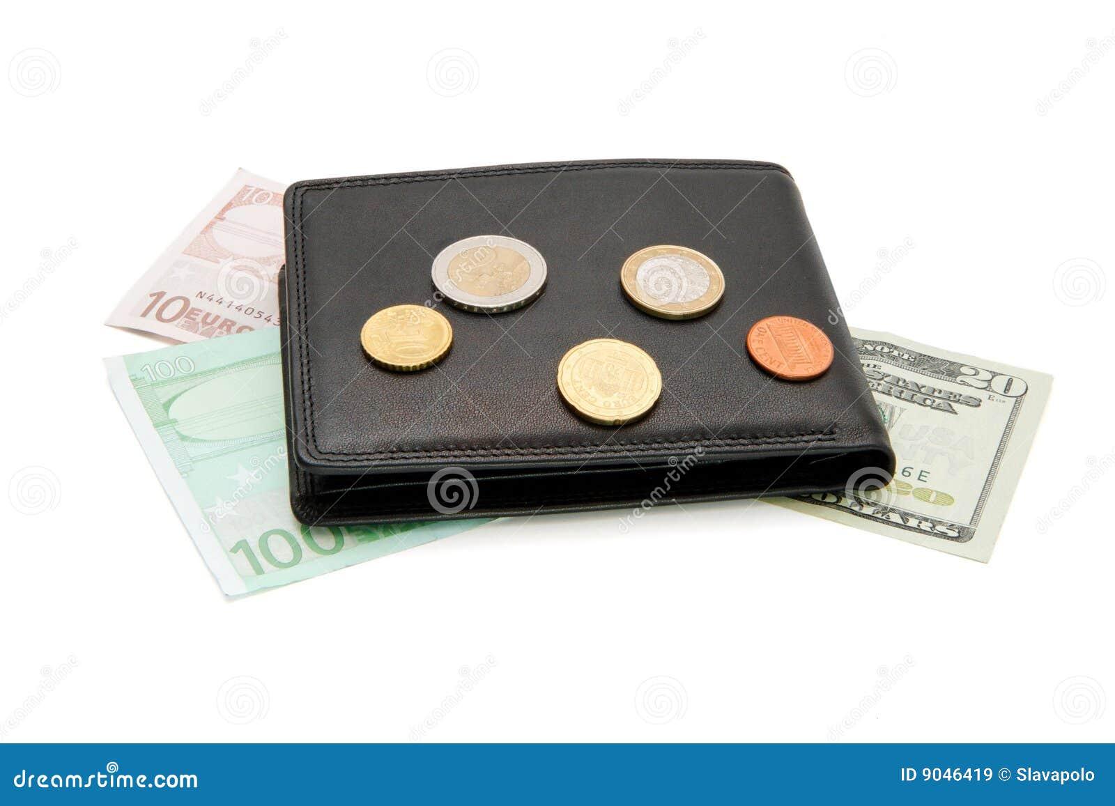 Schwarze Mappe Banknoten Und Münzen Getrennt Stockbild Bild Von