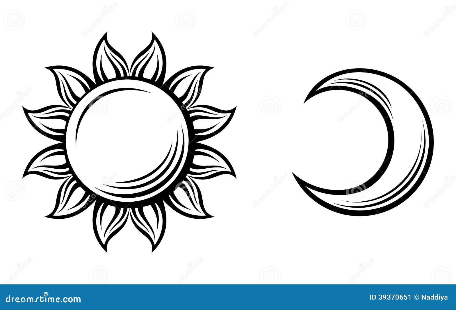 Schwarze Schattenbilder der Sonne und des Mondes. Vektor