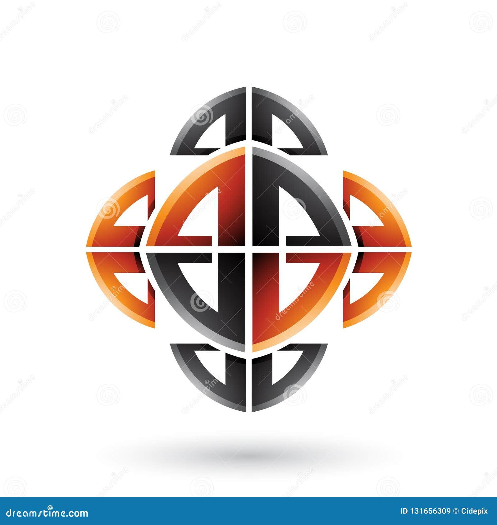 Schwarze und orange abstrakte dekorative Bogen-Formen lokalisiert auf einem weißen Hintergrund