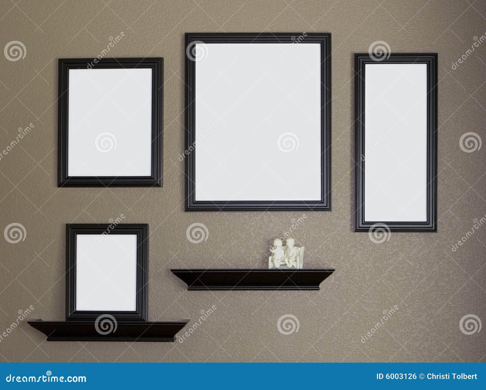 Schwarzer Bilderrahmen Und Regal-Collage Stockfoto - Bild von ...