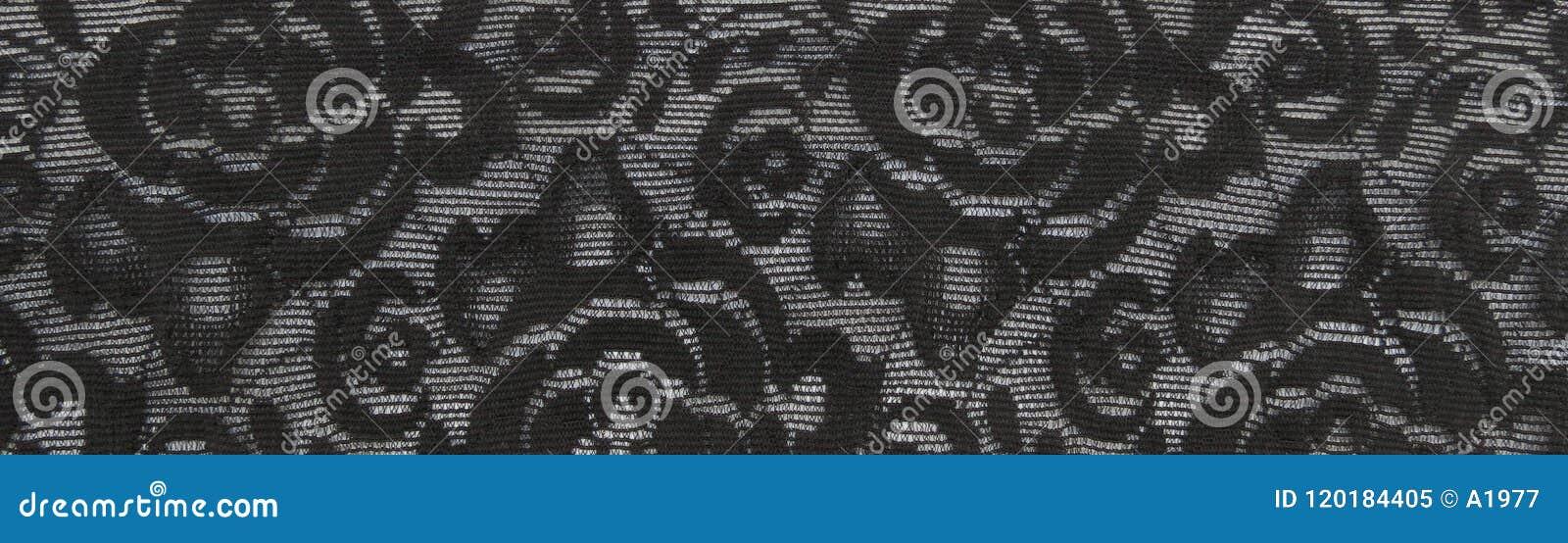 Schwarzer Blumenspitzebandhintergrund