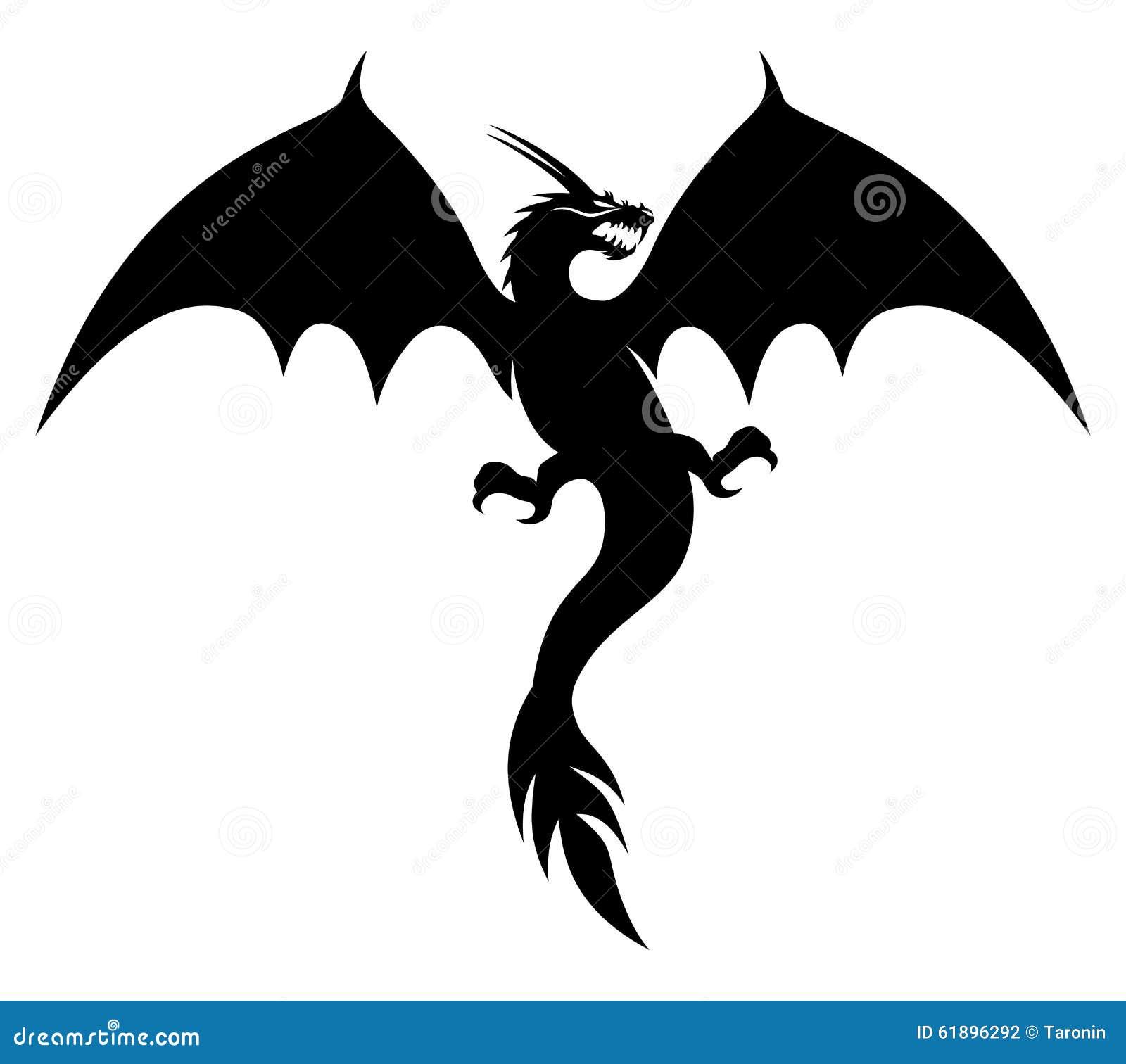 schwarzer drache auf wei vektor abbildung illustration von verzierung 61896292. Black Bedroom Furniture Sets. Home Design Ideas