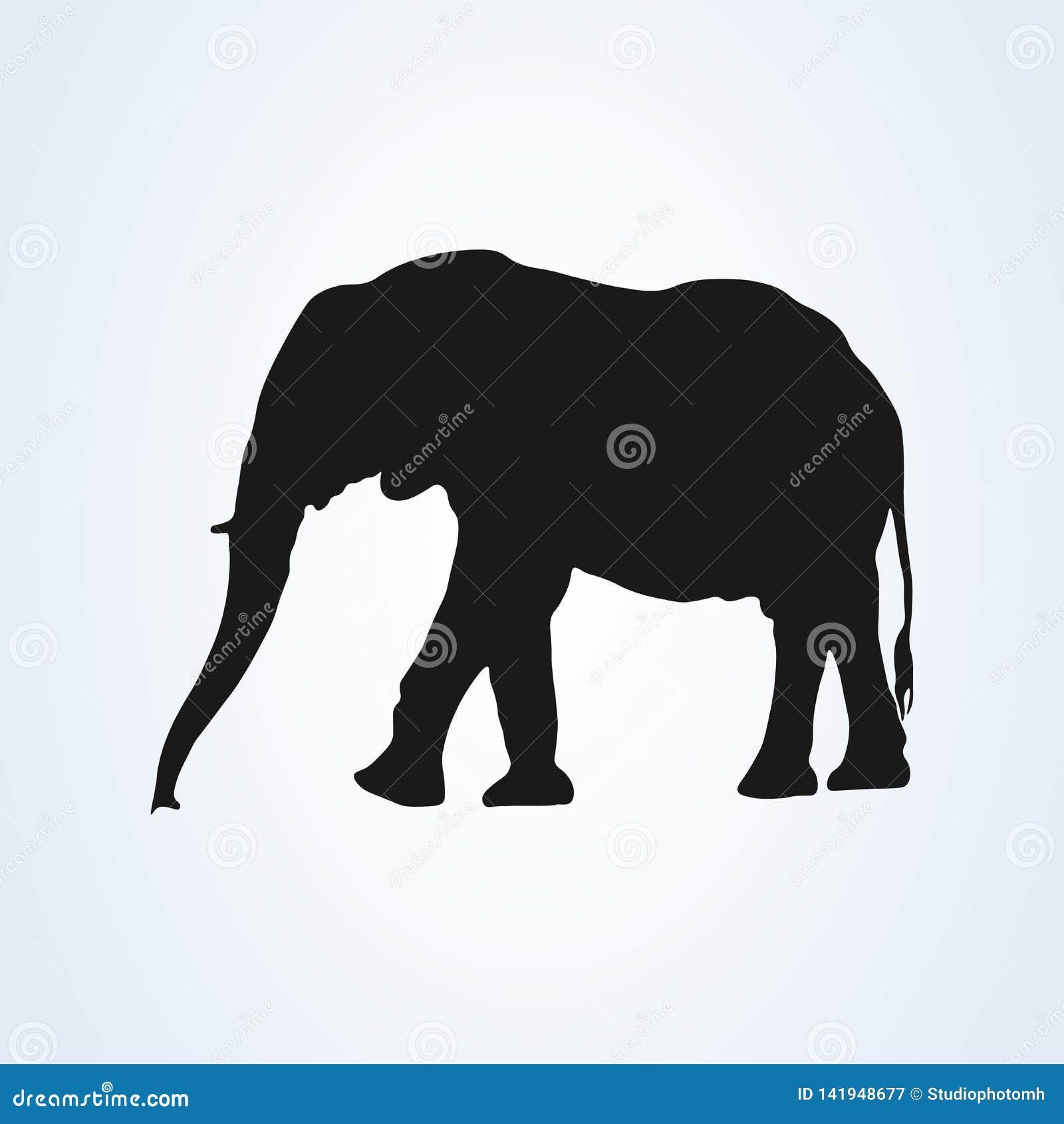 Schwarzer Elefantschattenbild-Ikonenvektor Getrennt auf weißem Hintergrund