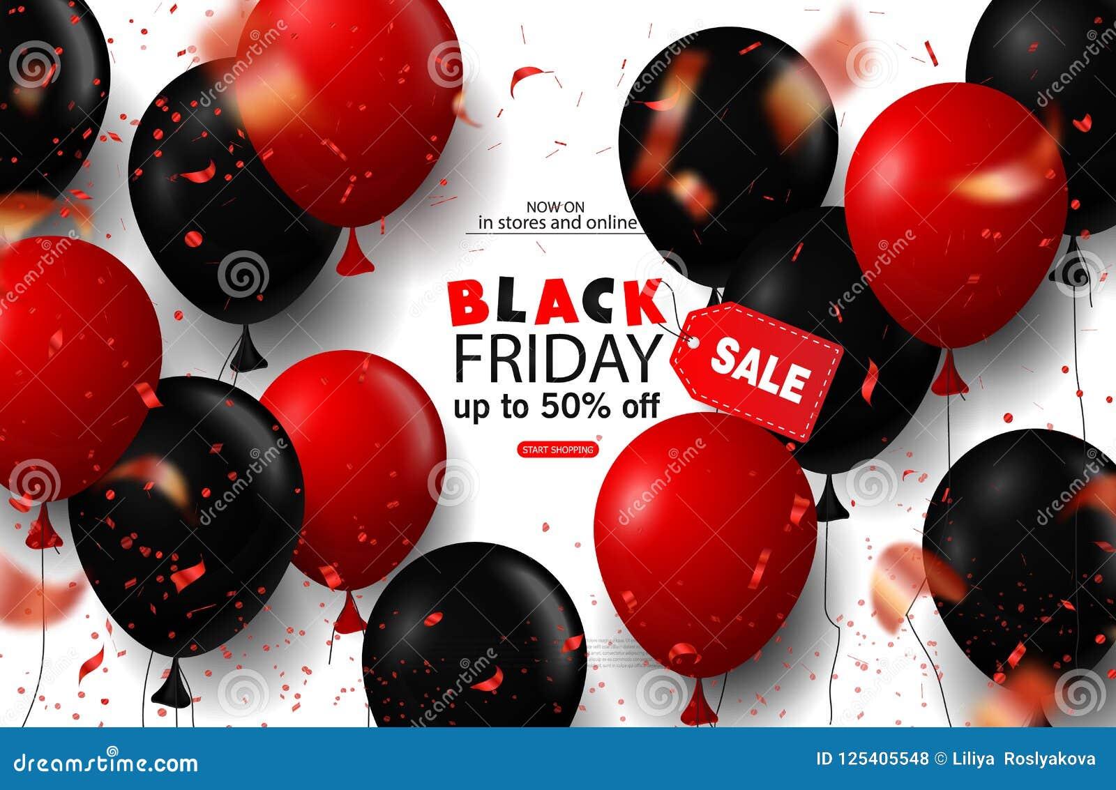 Schwarzer Freitag-Verkaufshintergrund mit Ballonen und Serpentin Moderne Auslegung Universalvektorhintergrund für Plakat, Fahnen
