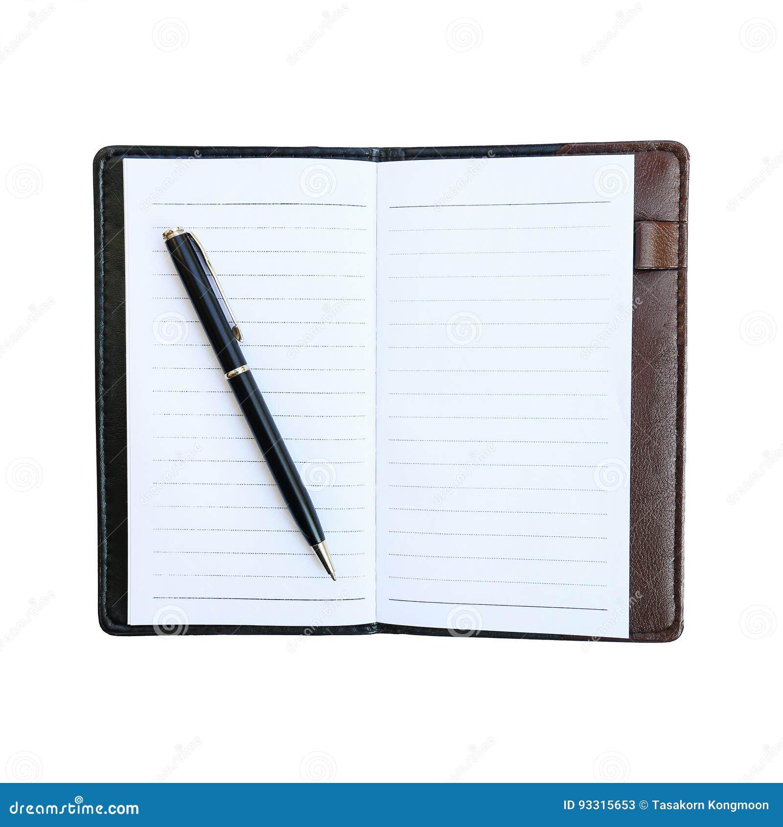 Schwarzer Geschäftsstift auf Notizbuch mit dem ledernen Kasten lokalisiert auf whi