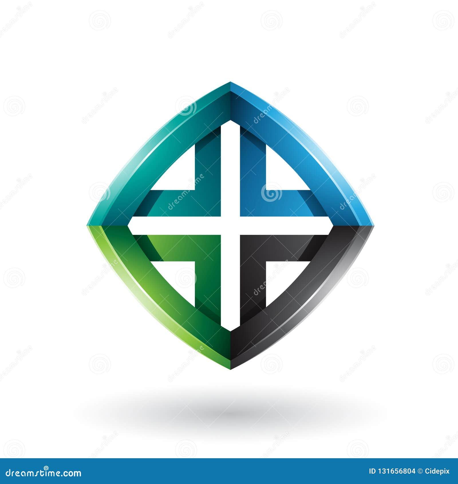 Schwarzer grüner und blauer verdrehter Diamond Shape lokalisiert auf einem weißen Hintergrund