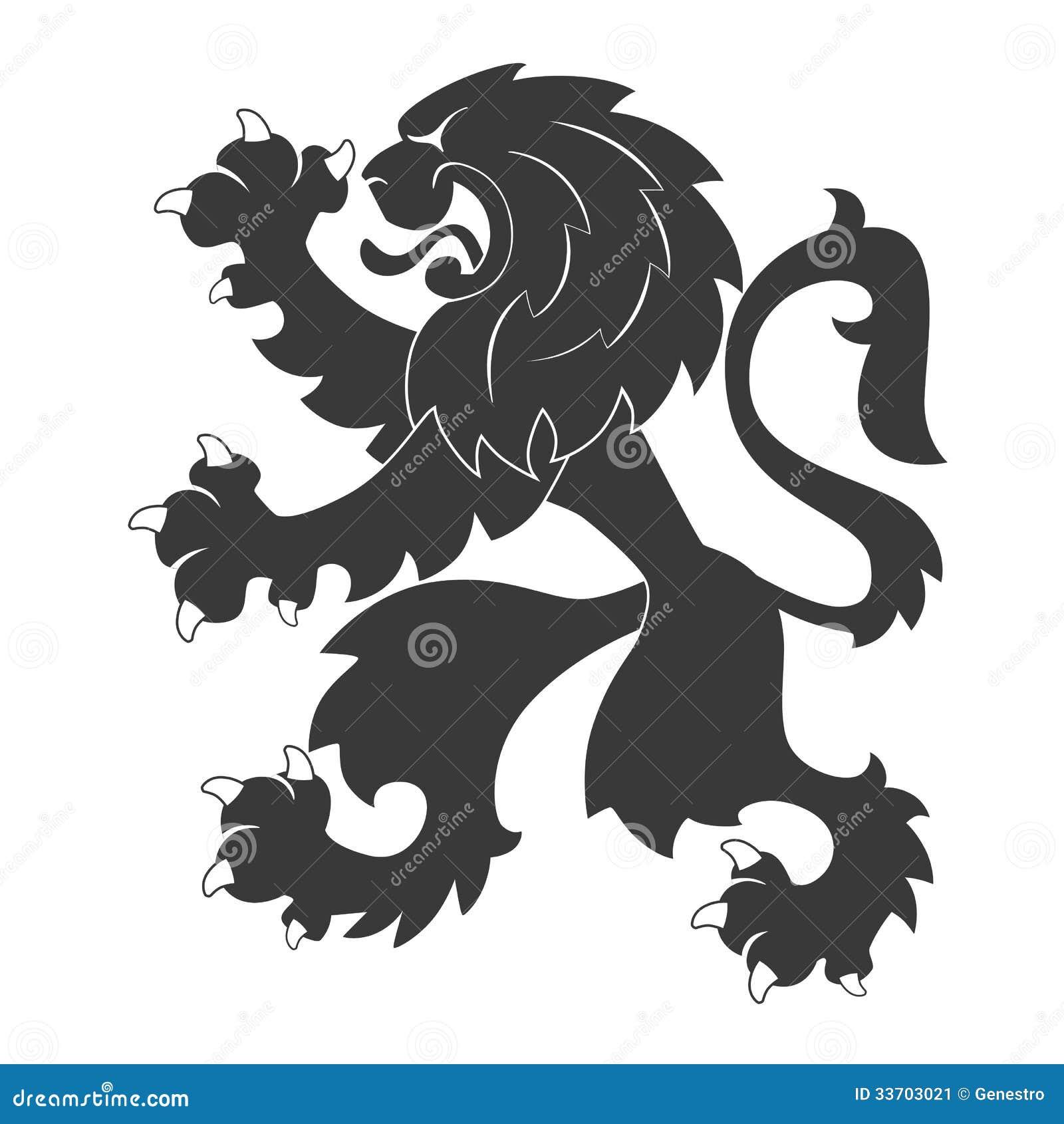 Schwarzer heraldischer Löwe