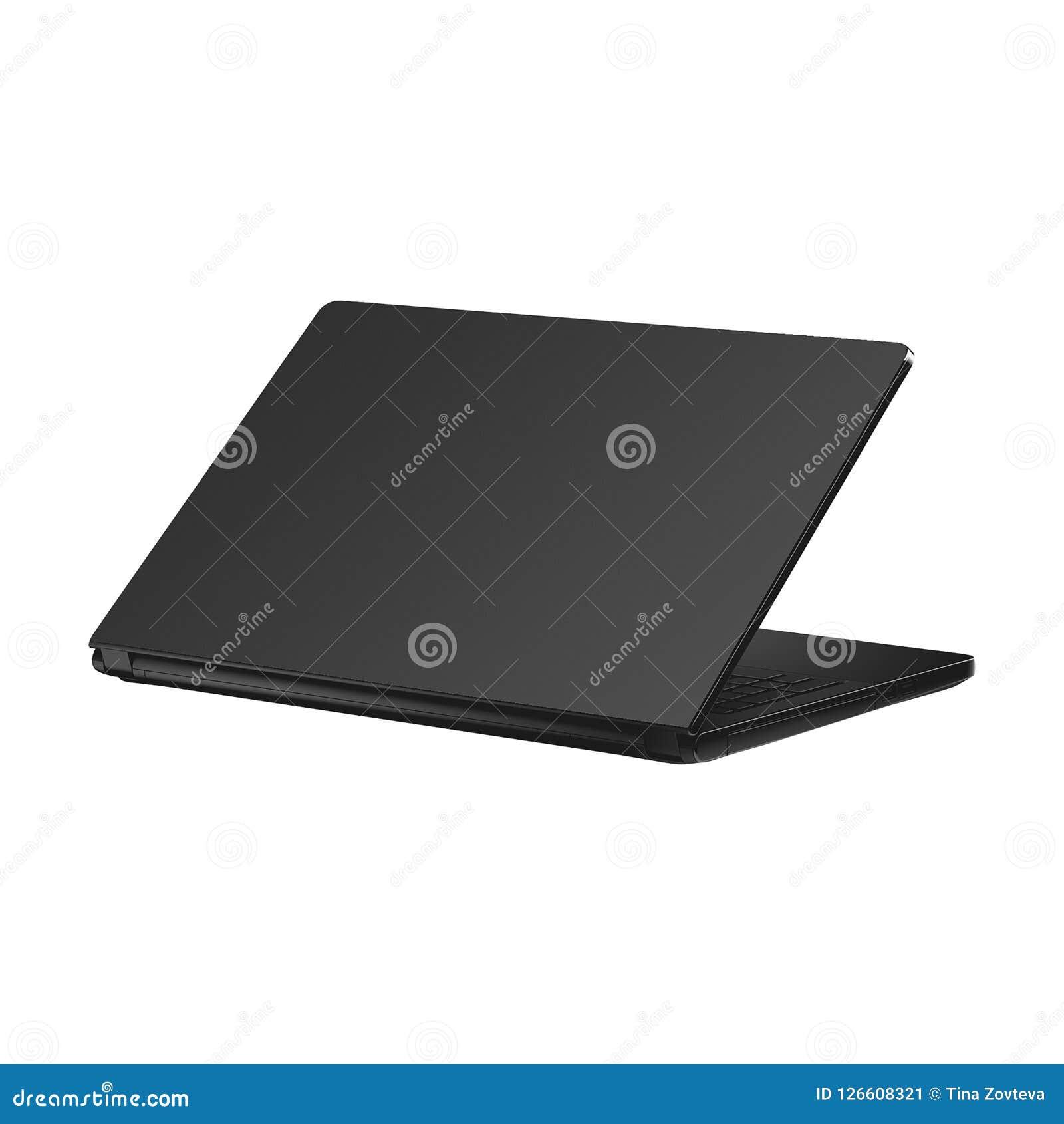 Schwarzer Laptop getrennt auf Weiß
