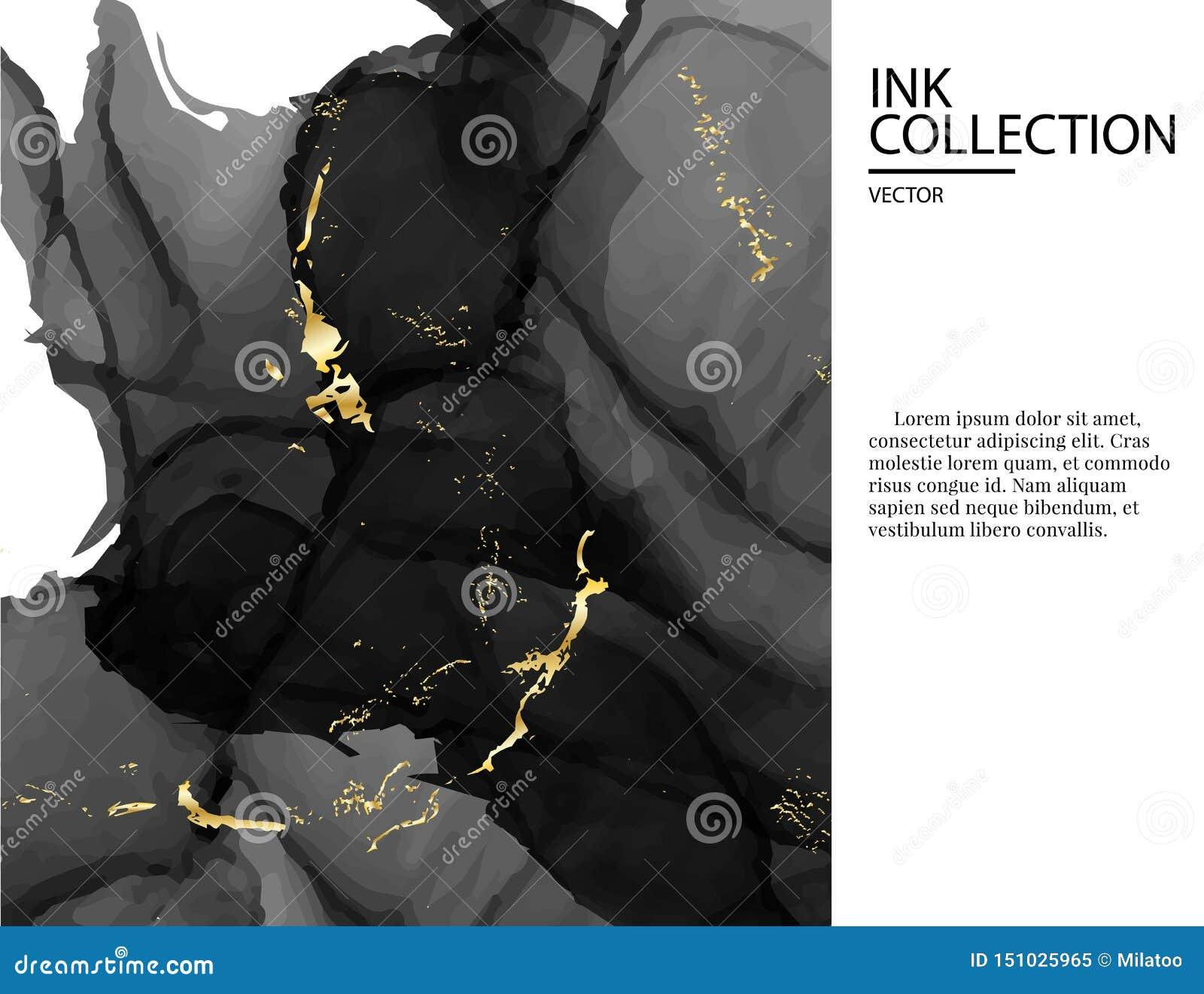 Schwarzer Luxuskartenhochzeitseinladungskarten-Schablonenmarmorierungentwurf, moderne dunkle Goldangebotdekoration lokalisiert au