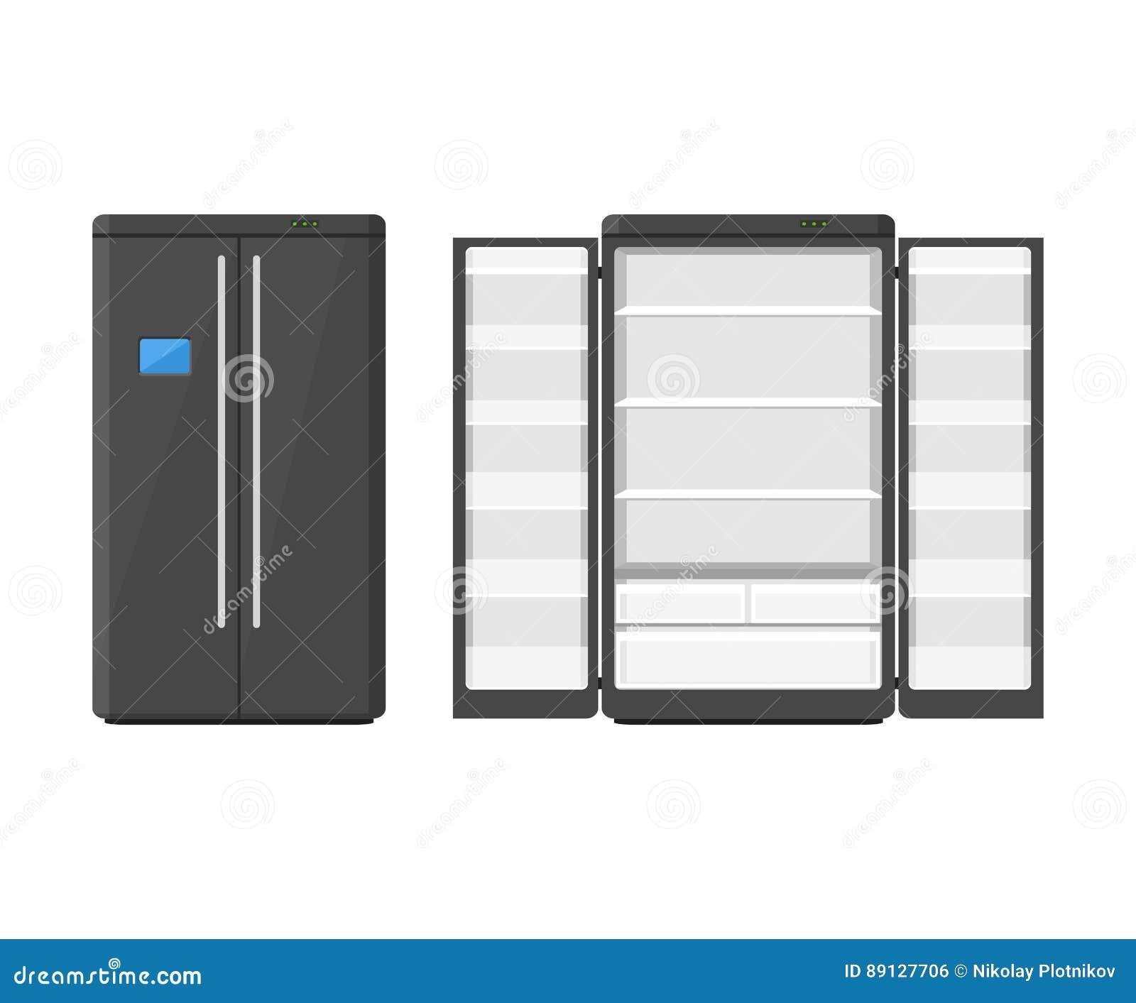 Schwarzer Moderner Haushaltsgerätkühlschrank Mit Zwei Türen ...