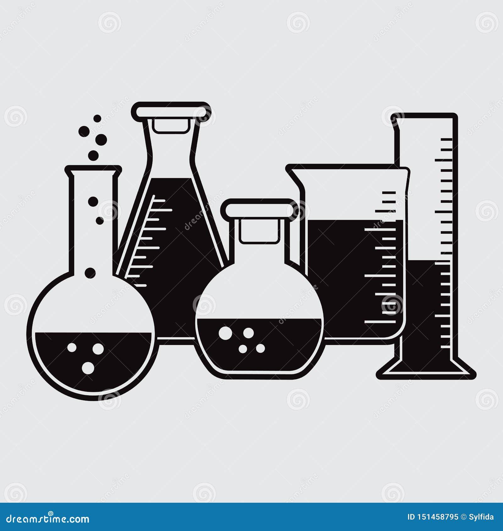 Schwarzer Satz der chemischen Flasche mit Flüssigkeit Vektor
