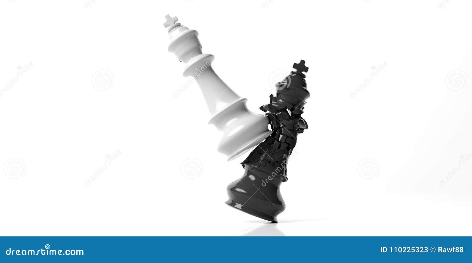 Schwarzer Schachkönig gebrochen vom weißen König, lokalisiert auf weißem Hintergrund Abbildung 3D