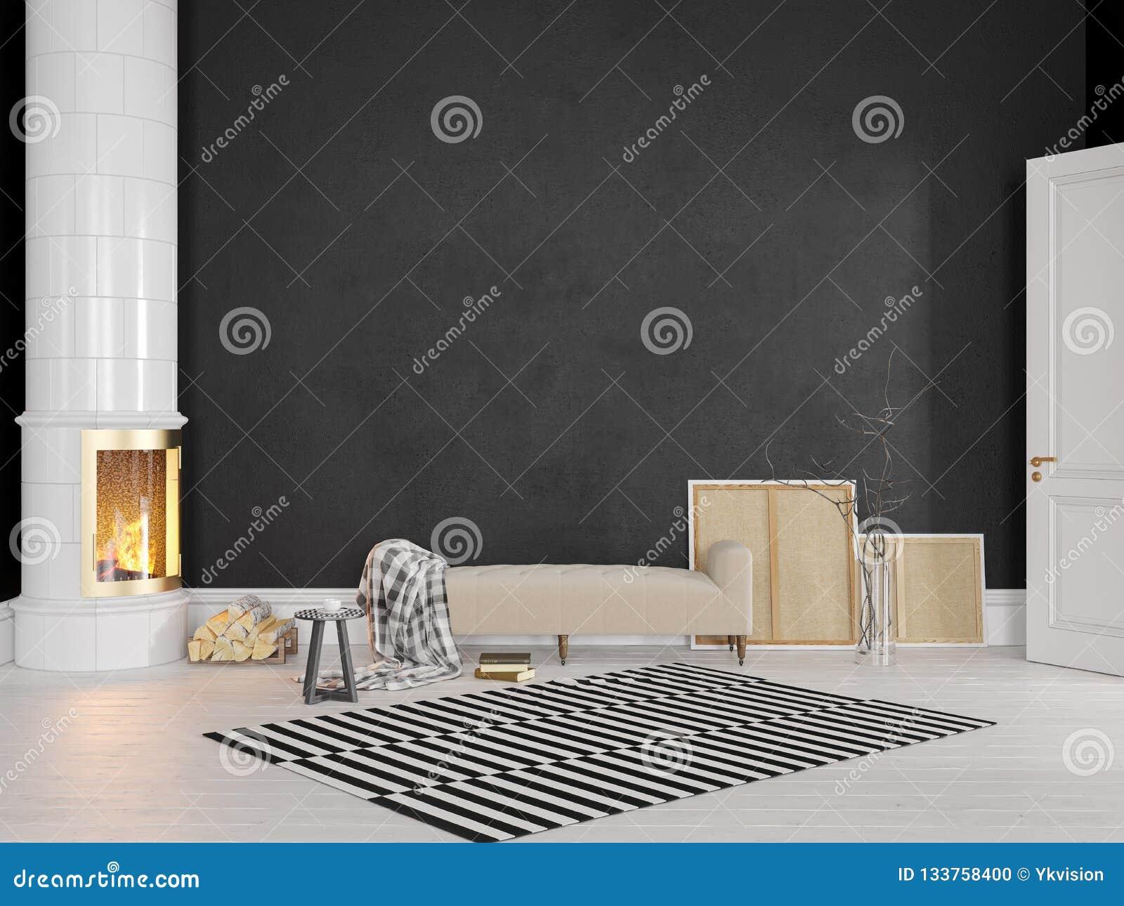 Schwarzer Skandinavier, klassischer Innenraum mit Couch, Ofen, Kamin, Teppich
