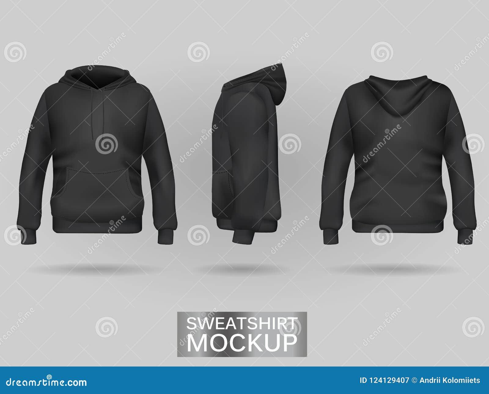 Schwarzer Sweatshirt Hoodie ohne Zipschablone in drei Maßen