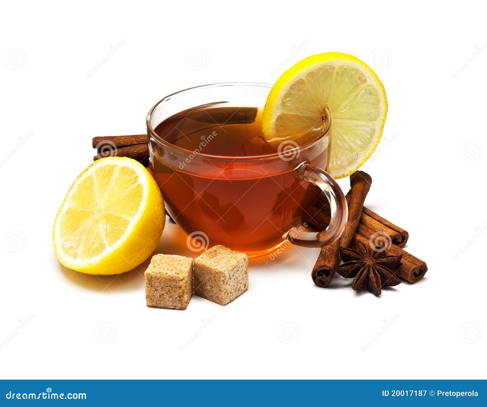 Schwarzer Tee Mit Zitrone Und Zimt Stockbild Bild Von Zimt