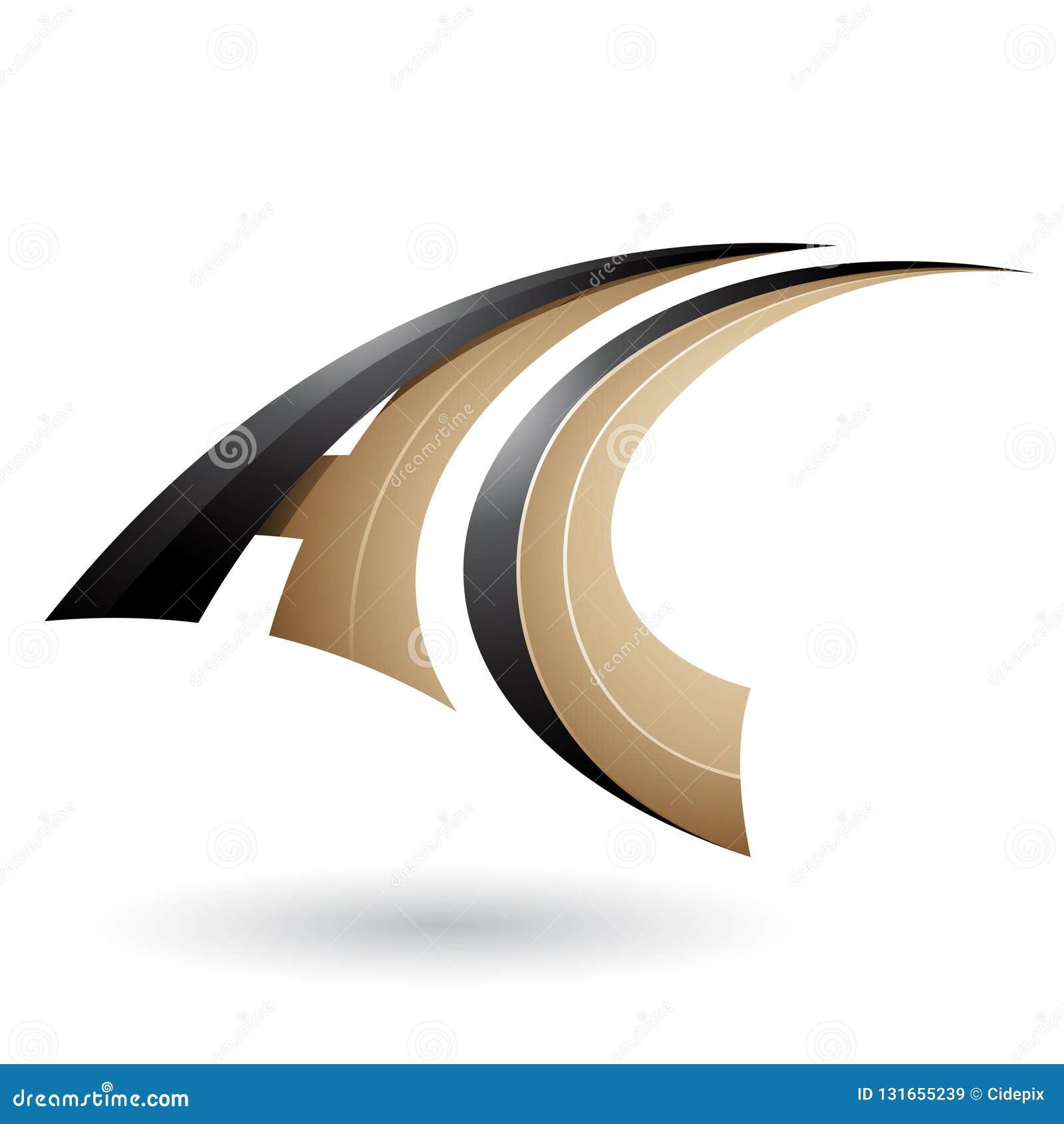 Schwarzer und beige dynamischer fliegender Buchstabe A und C lokalisiert auf einem weißen Hintergrund