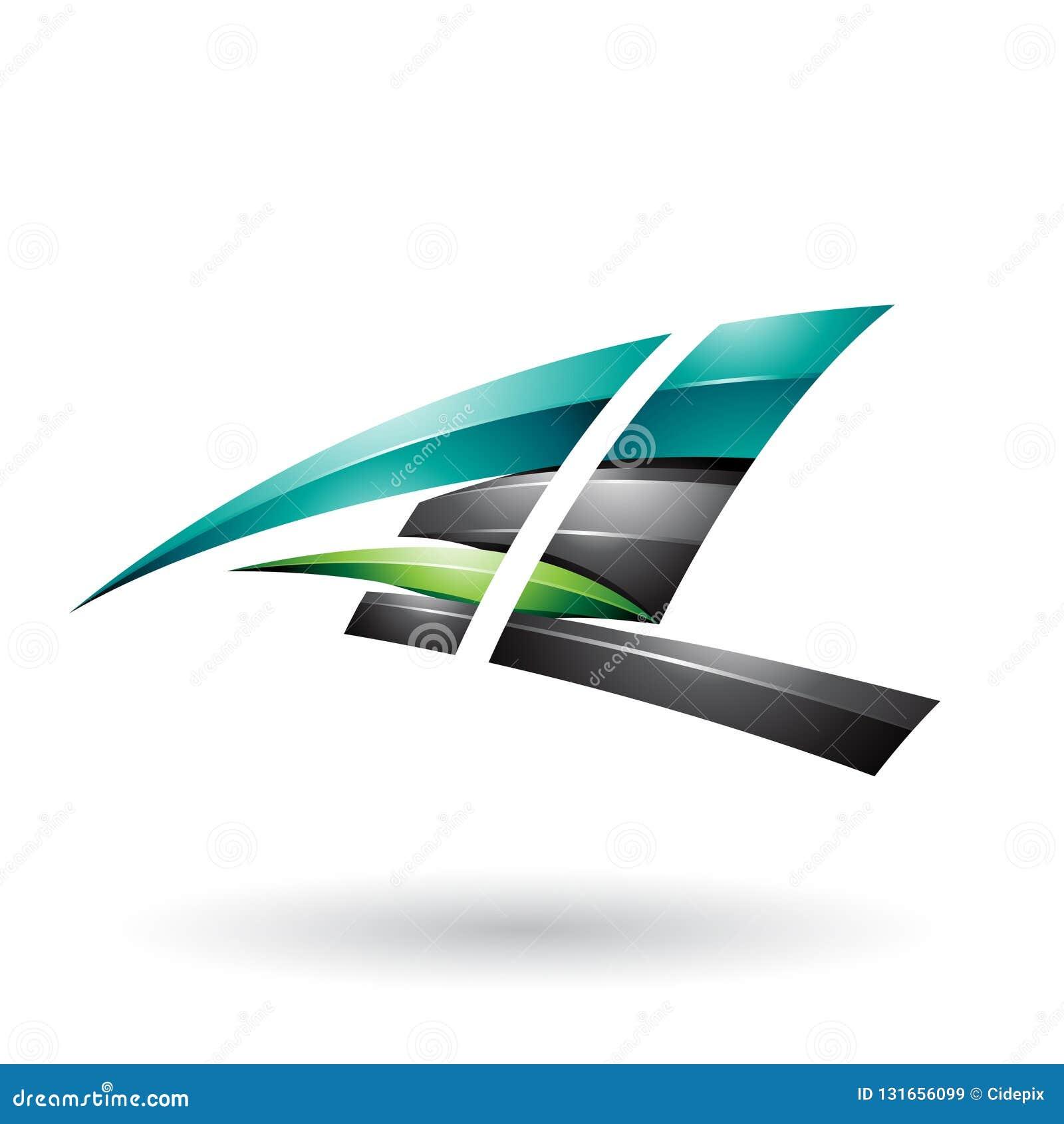 Schwarzer und grüner dynamischer glatter fliegender Buchstabe A und L lokalisiert auf einem weißen Hintergrund