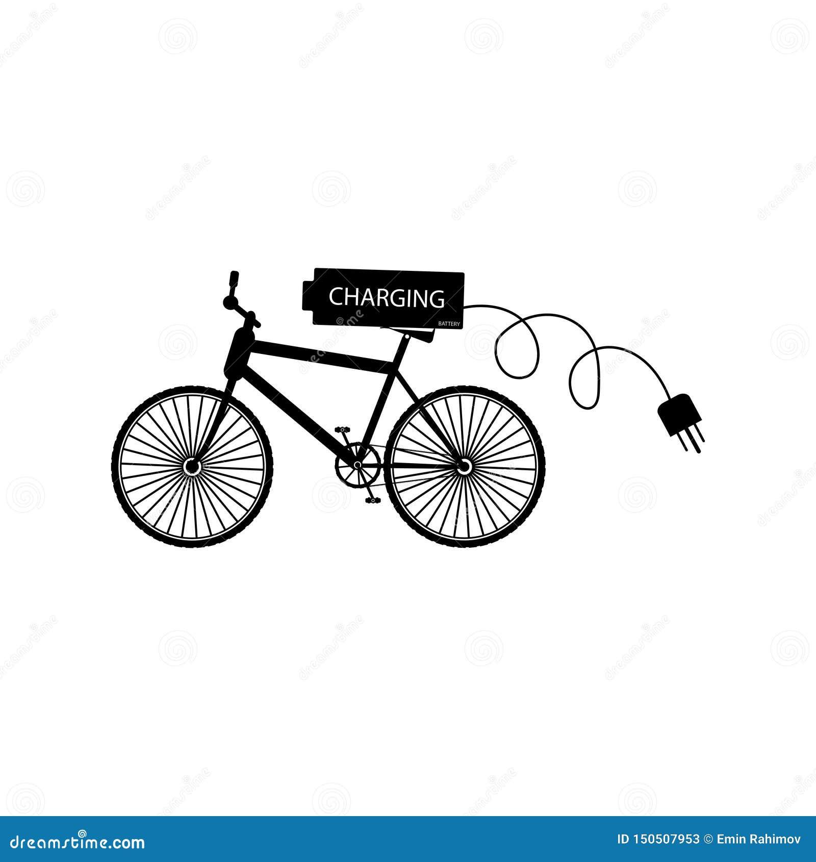 Schwarzes Fahrrad mit der Batterie und elektrischem Stecker Zweiphasen - Vektorillustration