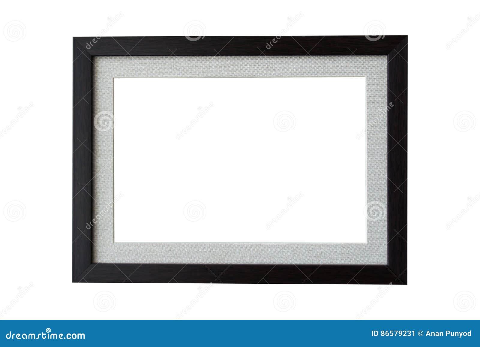 Schwarzes hölzernes Rahmenisolat auf weißem Hintergrund