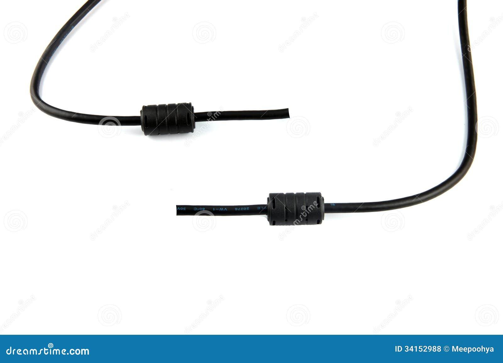 Schwarzes Kabel Benutzt, Um Den Computer Anzuschließen. Stockfoto ...