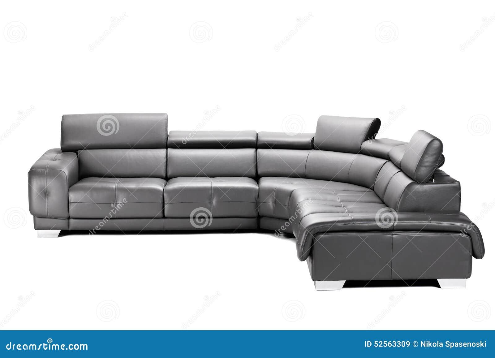 schwarzes ledernes sofa stockfoto bild 52563309. Black Bedroom Furniture Sets. Home Design Ideas