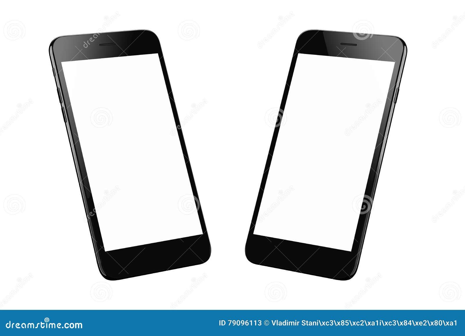 Schwarzes modernes intelligentes Telefon lokalisiert Zwei isometrische Positionen