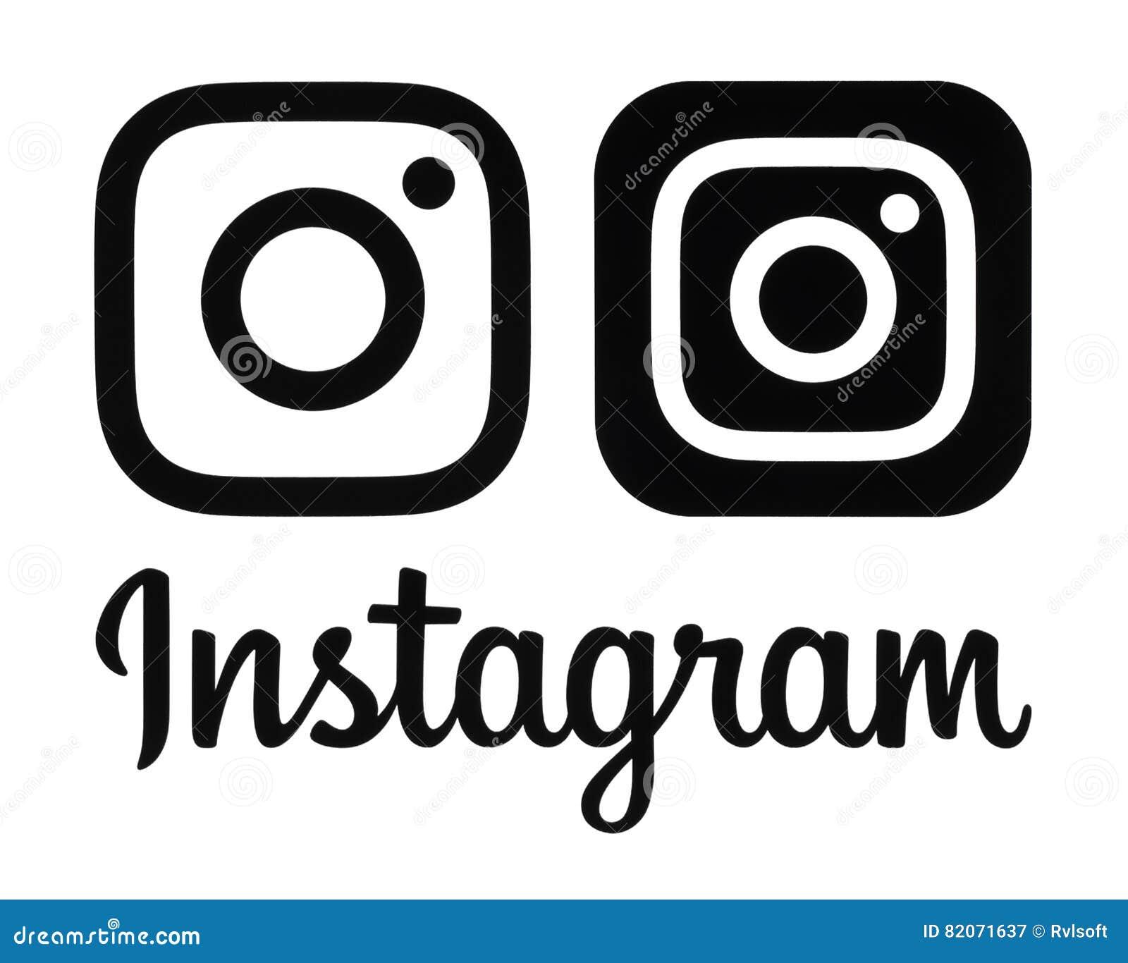 Schwarzes neues Logo und Ikone Instagram