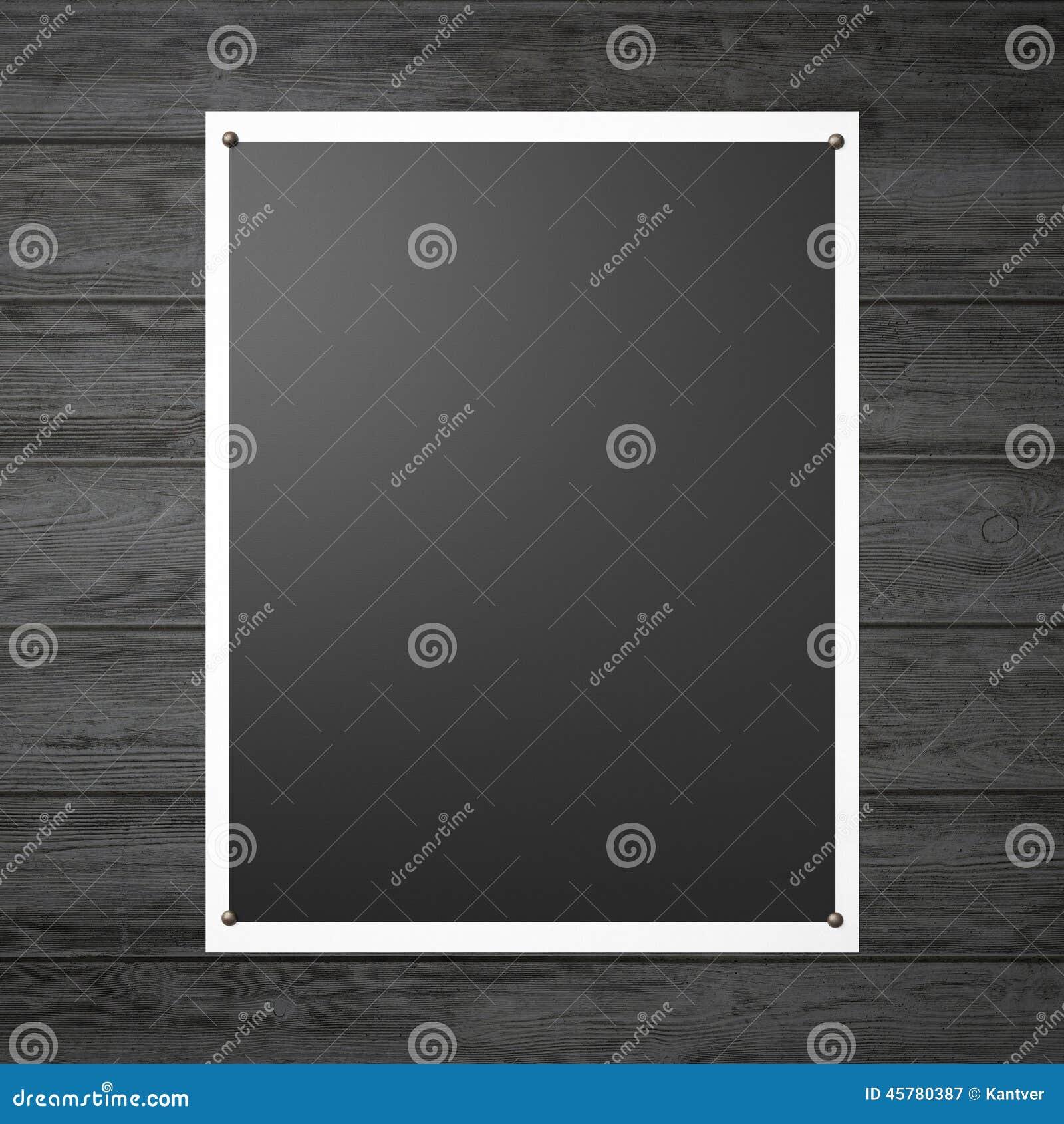 Schwarzes Plakat Auf Der Hölzernen Wand Stockbild - Bild von galerie ...