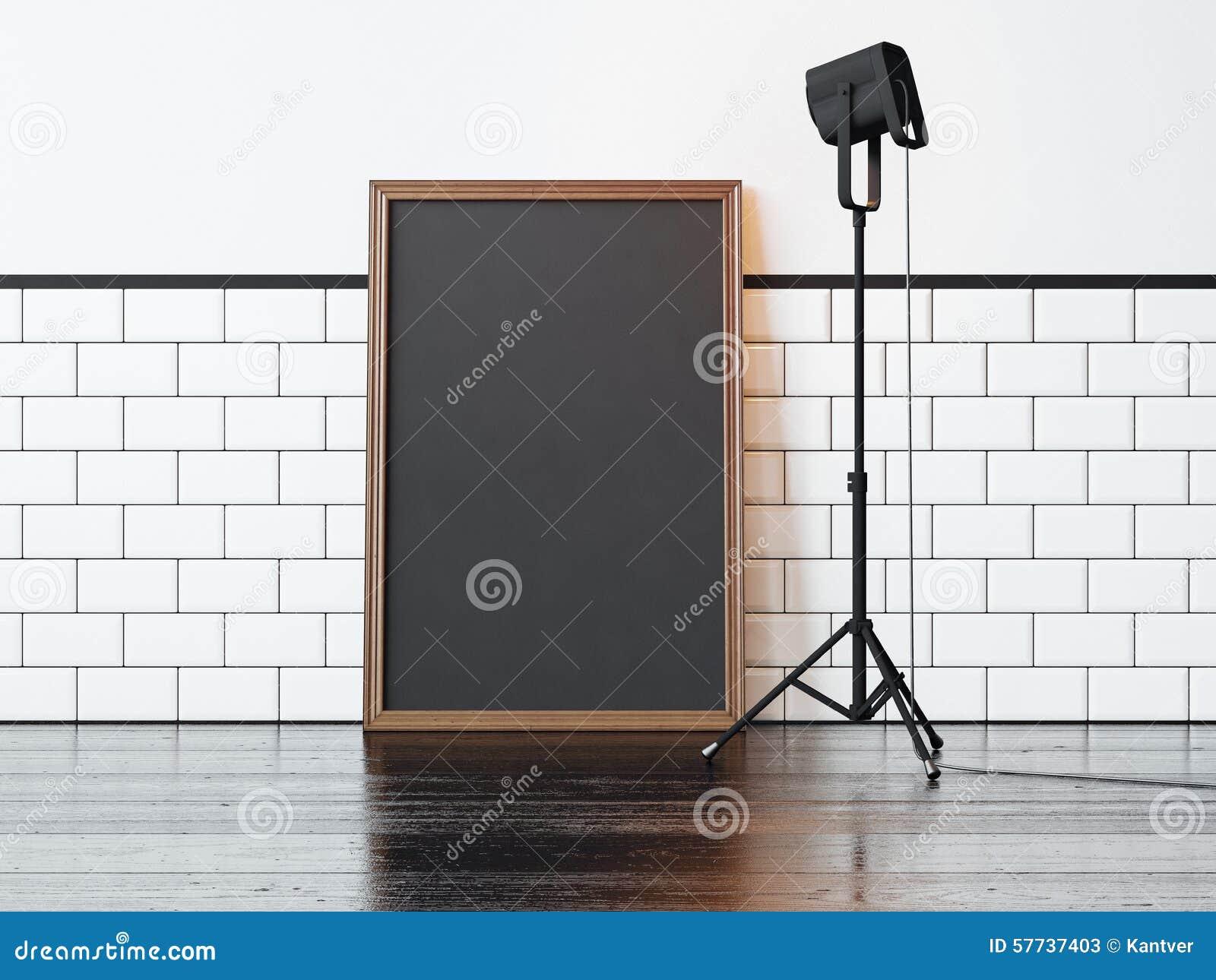 Schwarzes Plakat Und Lampe, Weiße Wand Wiedergabe 3d Stockbild ...