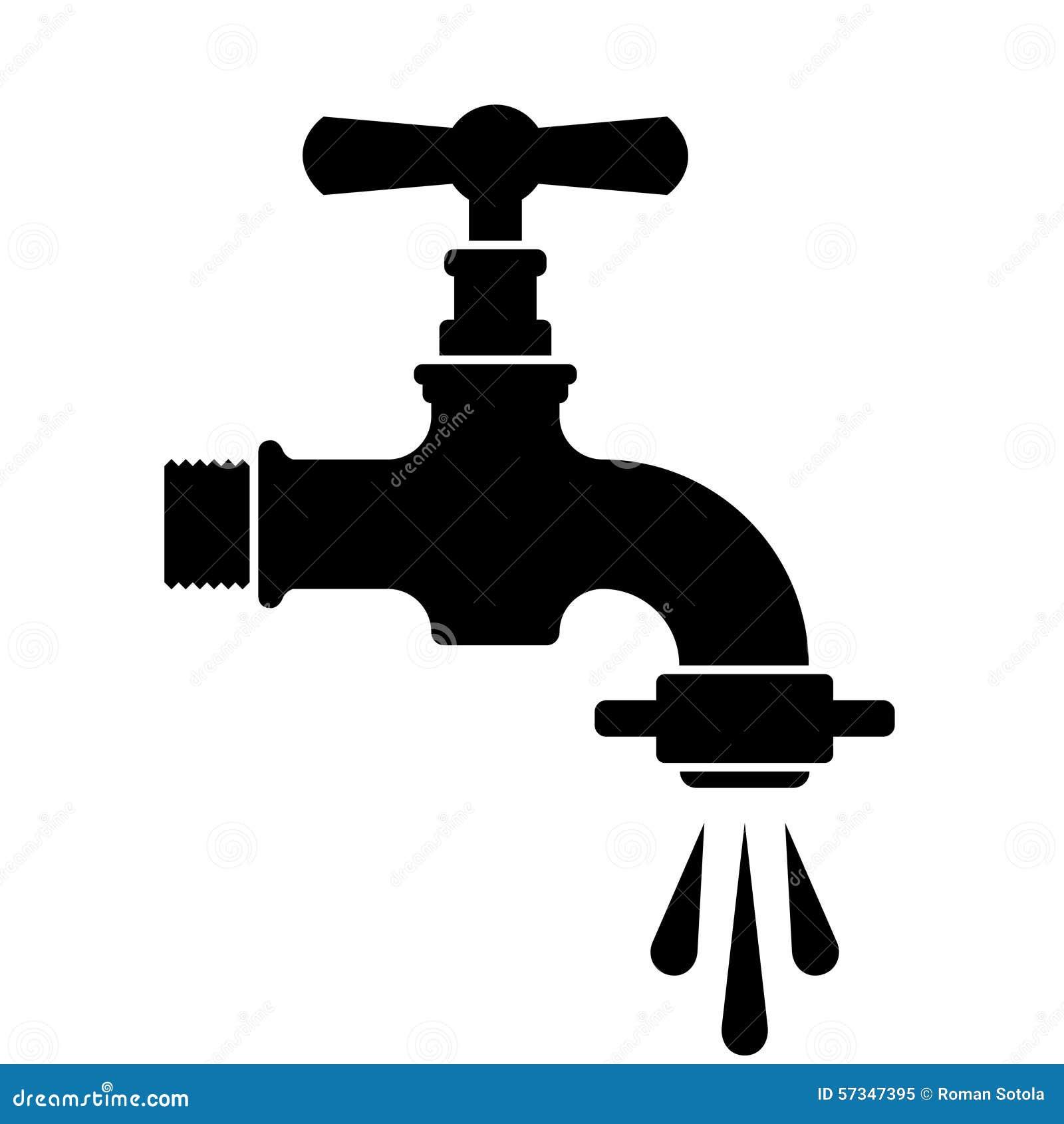 Schwarzes Retro- Wasserhahn-Hahnsymbol Vektor Abbildung ...