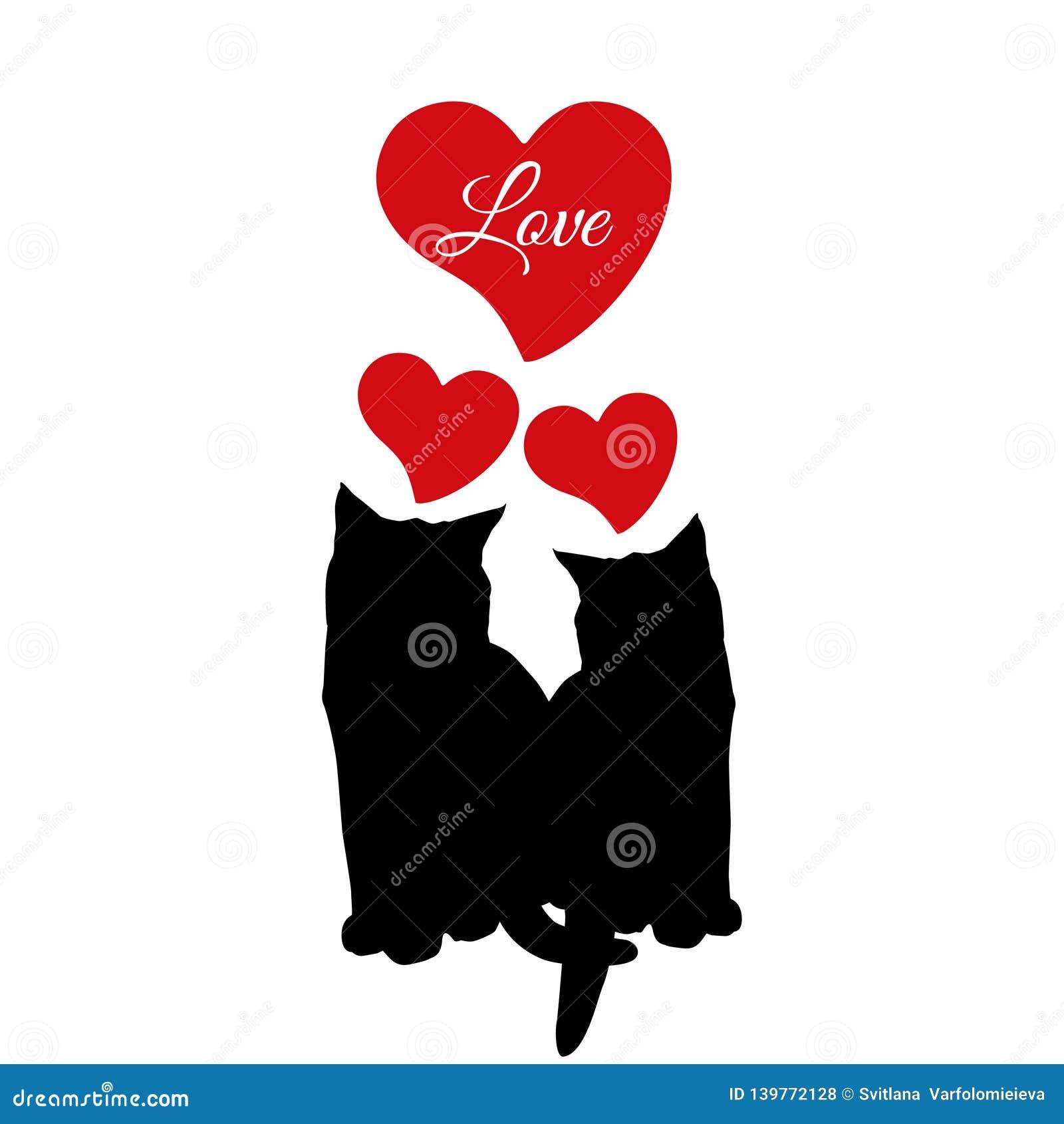 Schwarzes Schattenbild der Katzenliebes-Paare, Vektorillustration