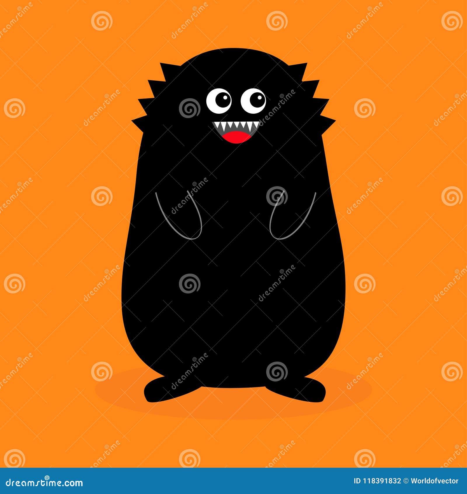 Schwarzes Schattenbild Des Monsters Reißzahnzahn öffnen Sie Mund