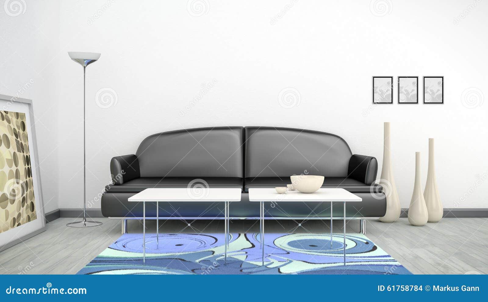schwarzes sofa in einem reinraum und in einem blauen teppich stock, Hause ideen