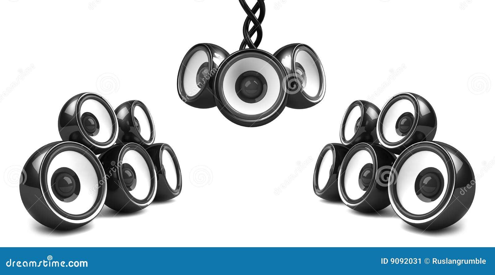 Schwarzes stilvolles Audiosystem