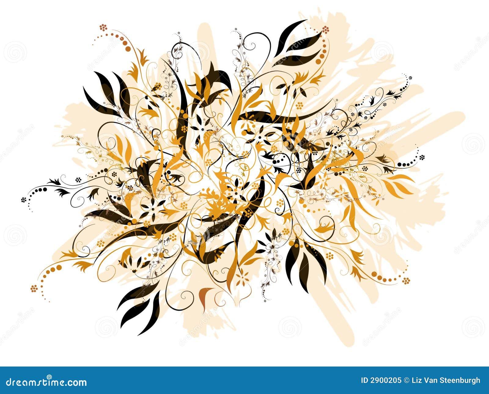 Schwarzes und Gold mit Blumen