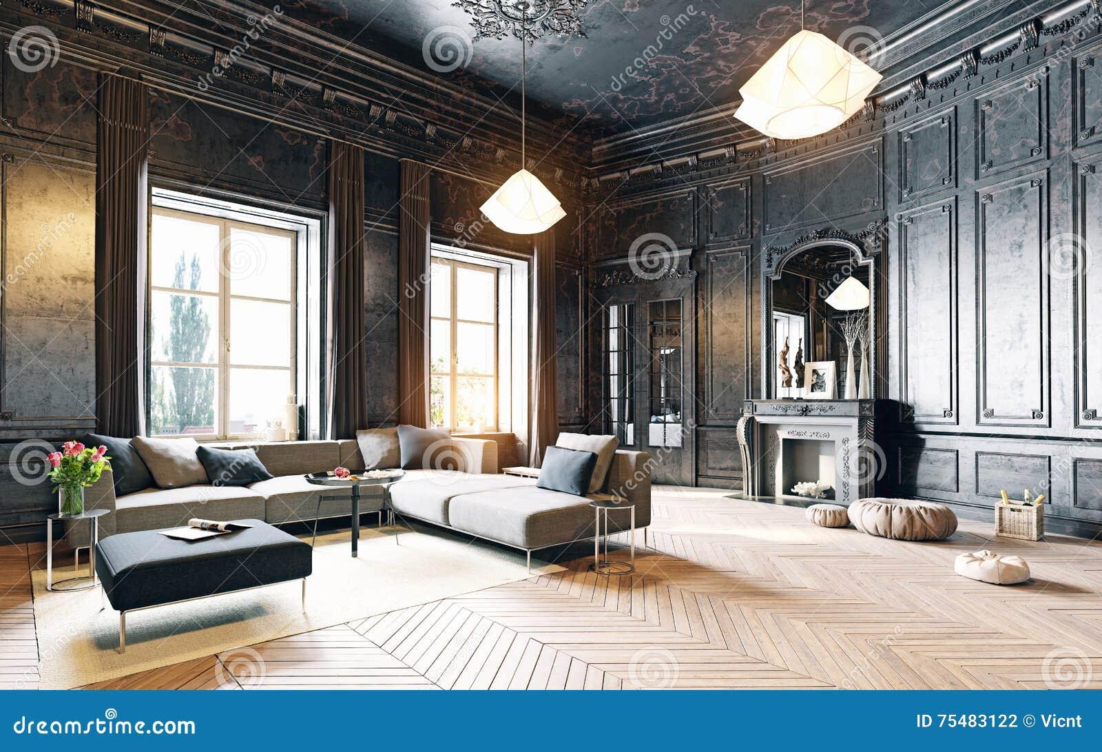 Schwarzes Wohnzimmer stock abbildung. Illustration von ...