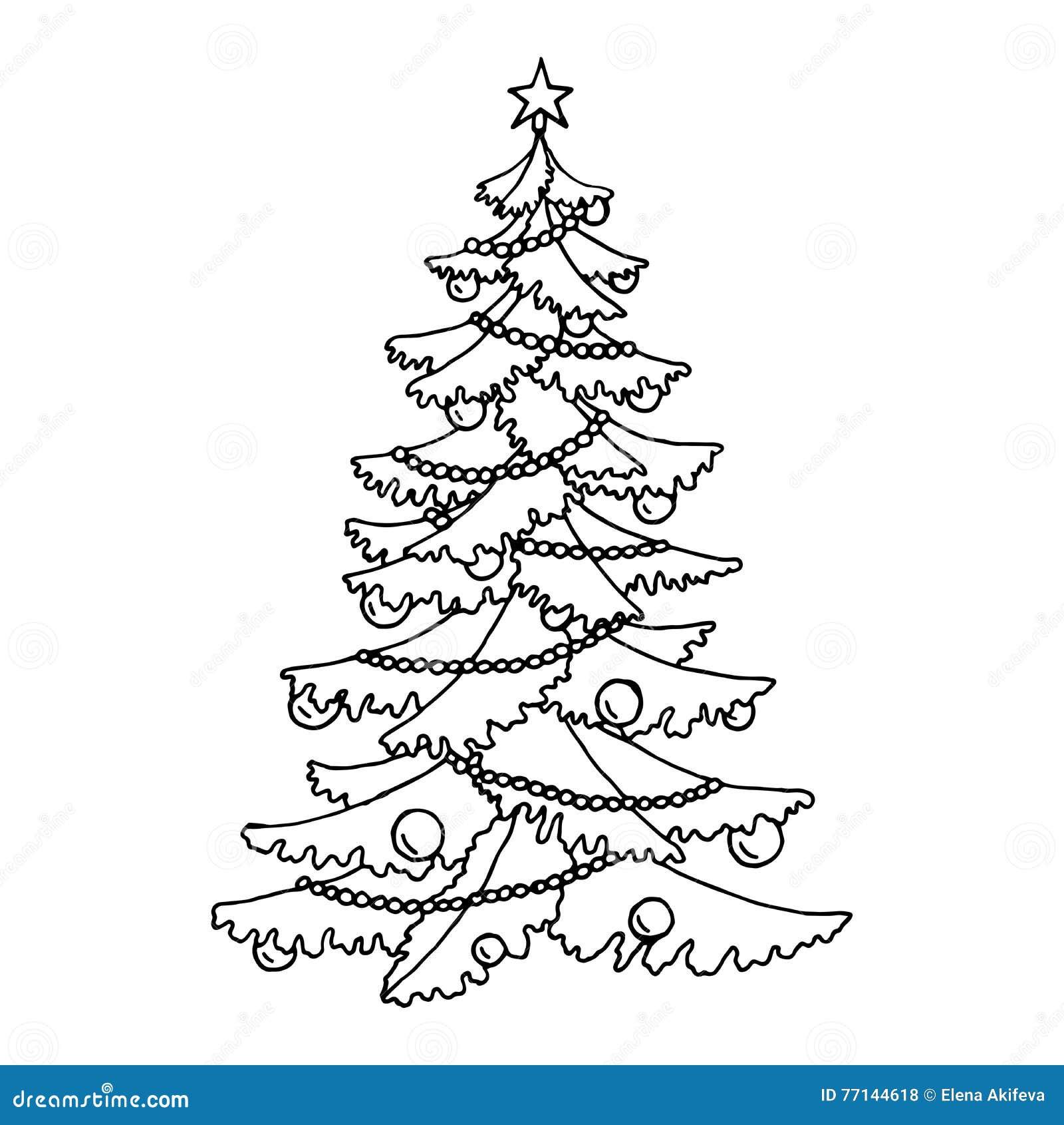 Clipart Tannenbaum Schwarz Weiß.Schwarzweiß Der Grafischen Kunst Des Weihnachtsbaums Lokalisierte