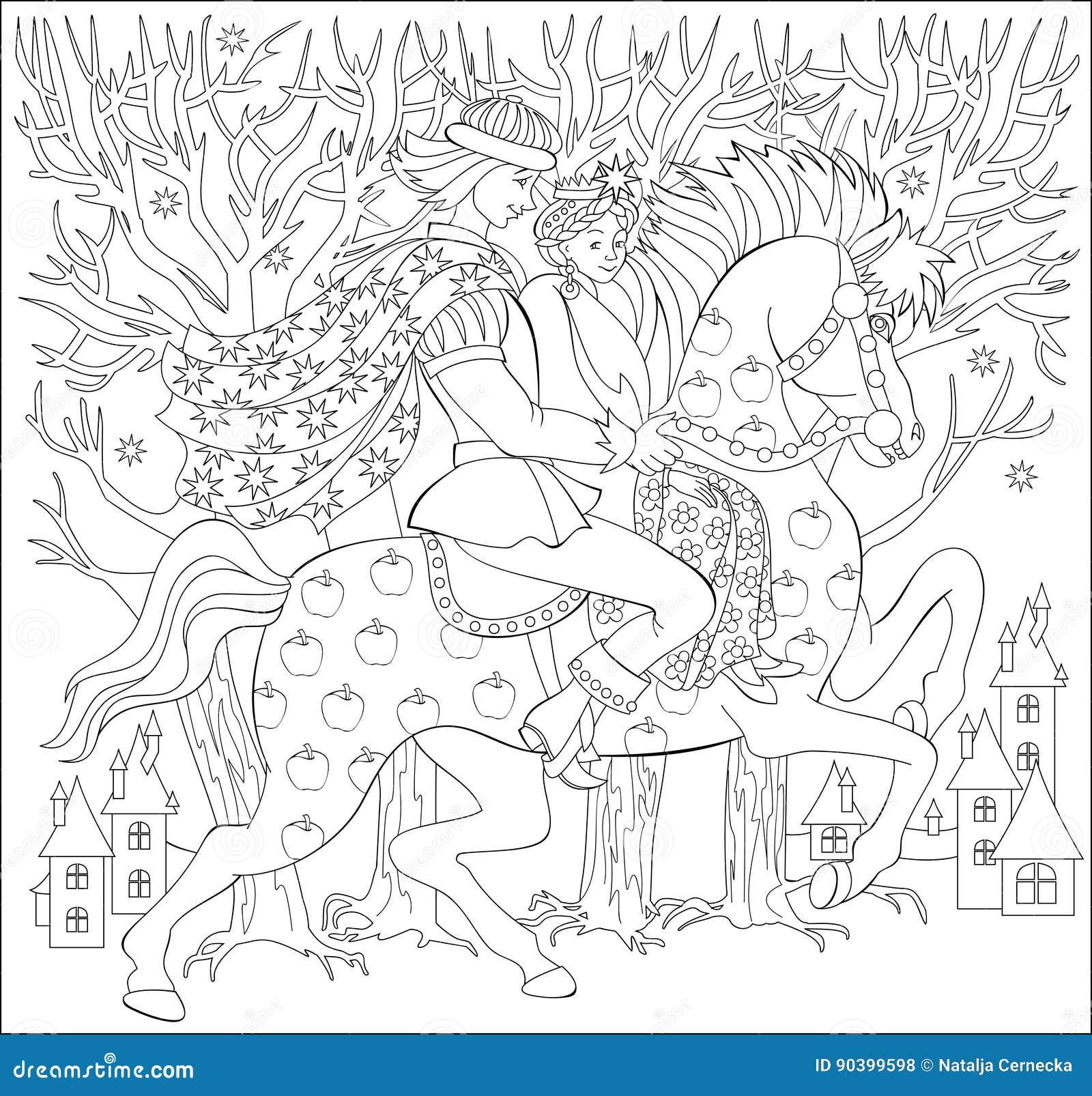 Schwarzweißabbildung Von Prinzen Und Von Prinzen, Die Auf Pferd Für ...