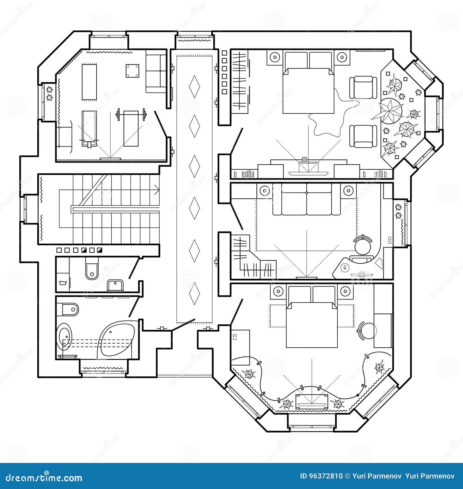 Schwarzweiss Architekturplan Eines Hauses Plan Der Wohnung Vektor