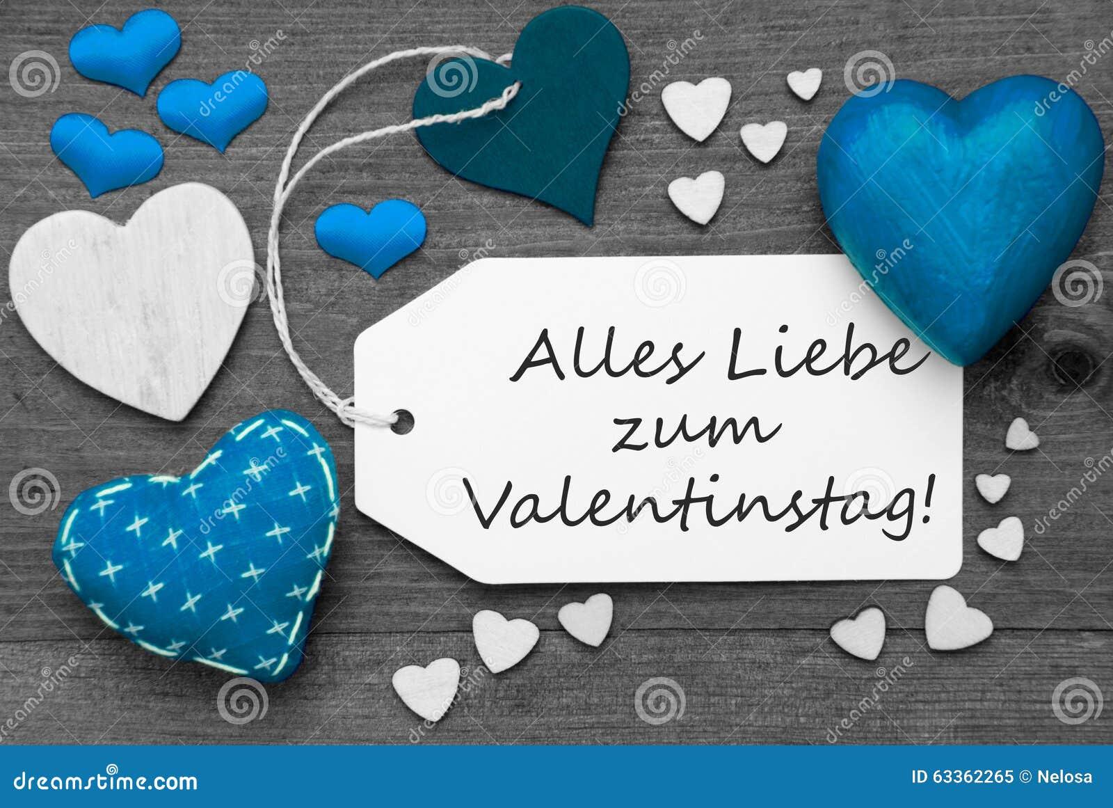 Schwarzweiss-Aufkleber, Blaue Herzen, Valentinstag Bedeutet ...