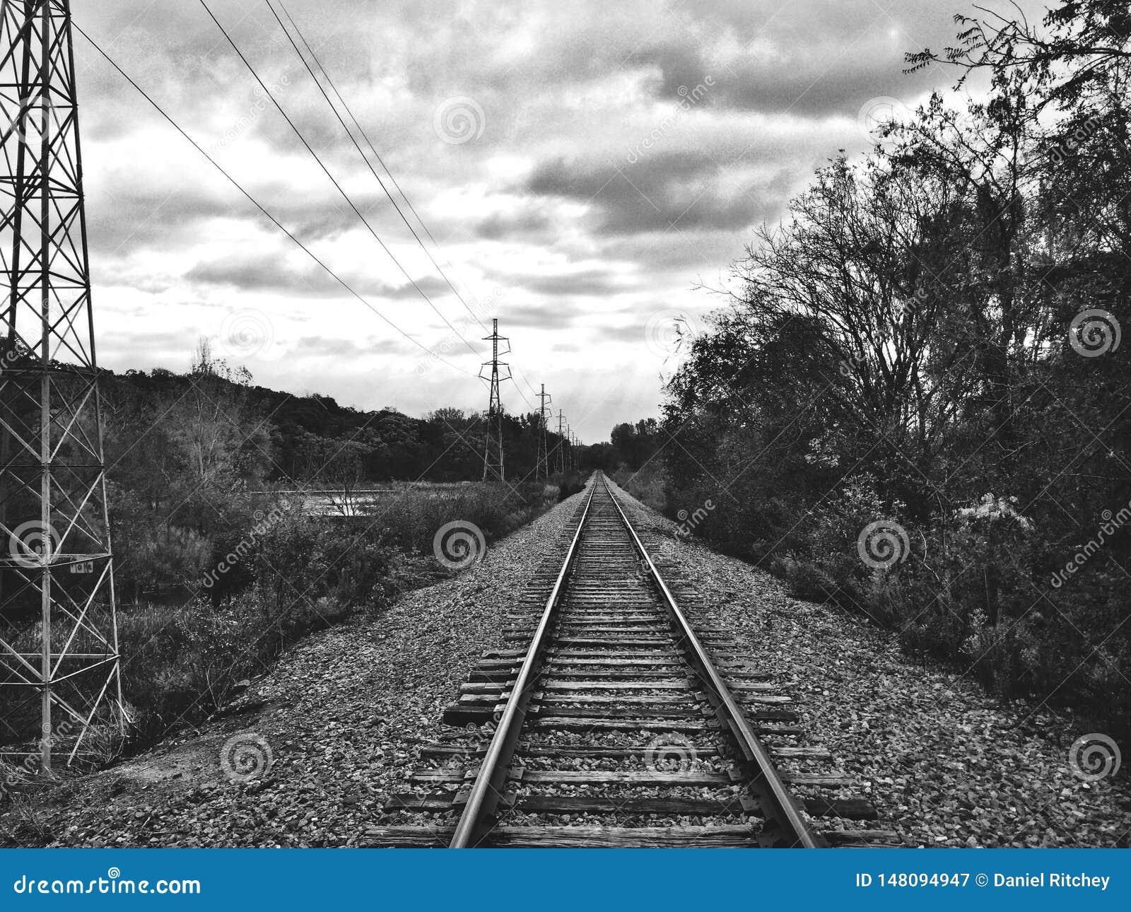 Schwarzweiss-Bahnstrecken