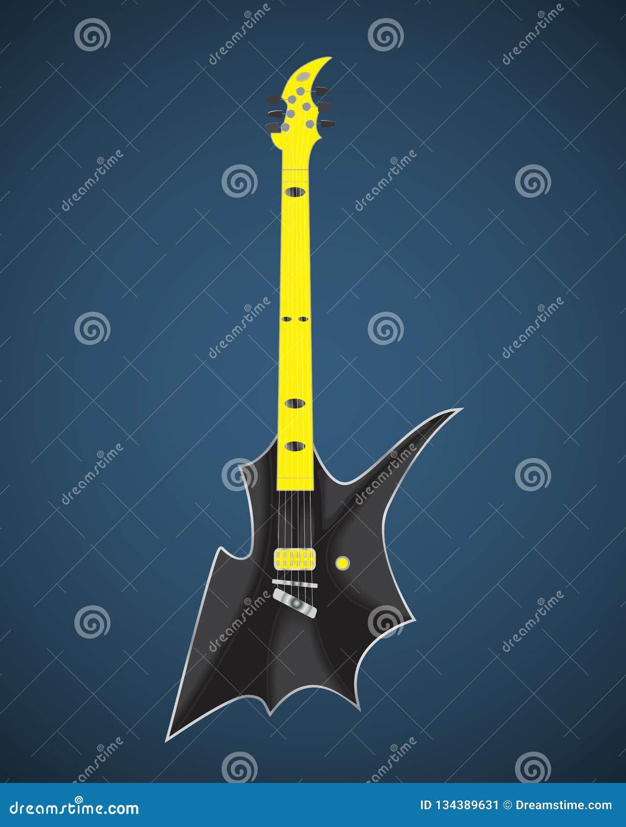 Schwarzweiss-E-Gitarre eingestellt auf weißen Hintergrund Lokalisierte stilvolle Kunst Moderne Grunge- und Rockart Noir Art