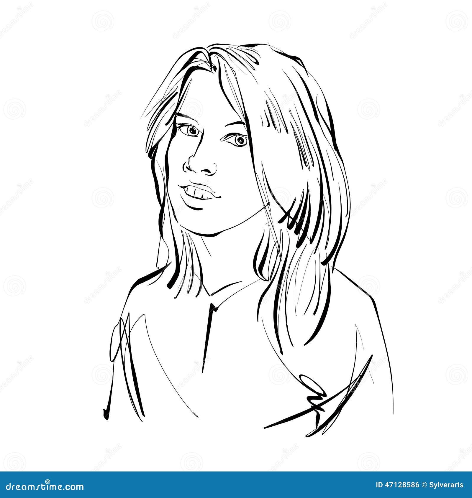 Schwarzweiss Hand Gezeichnete Illustration Einer Frau Madchen Mit