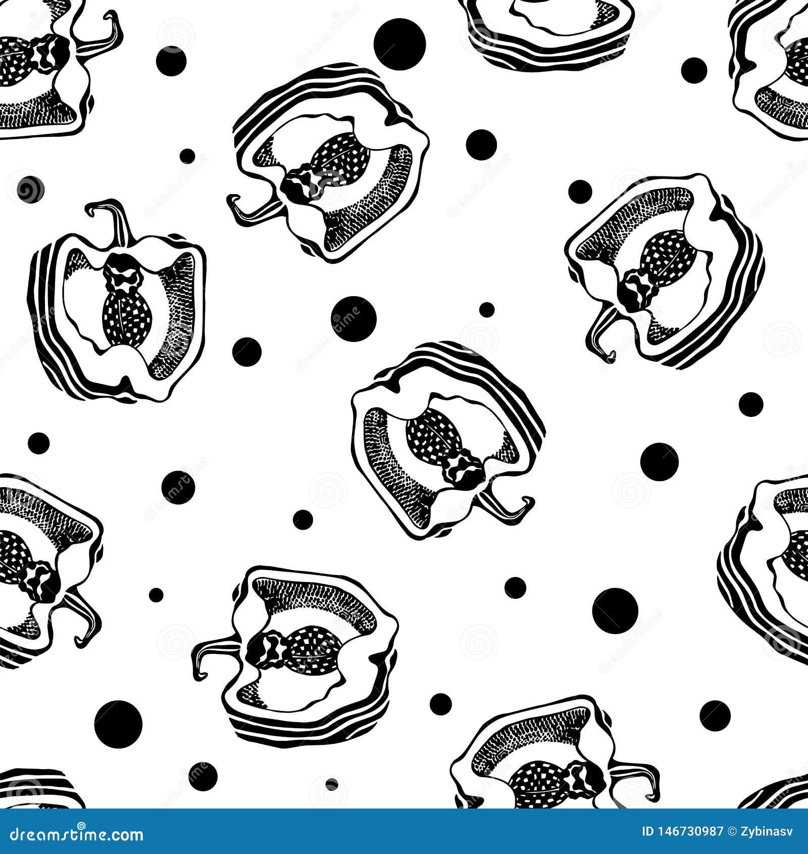 Schwarzweiss-Muster mit Pfeffer Nahtlose Beschaffenheit graphiken Vektor