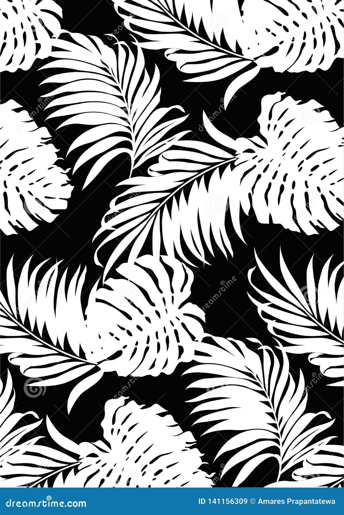 Schwarzweiss-Musterart der tropischen Blätter, flache Linie Vektor und Illustration auf schwarzem Hintergrund
