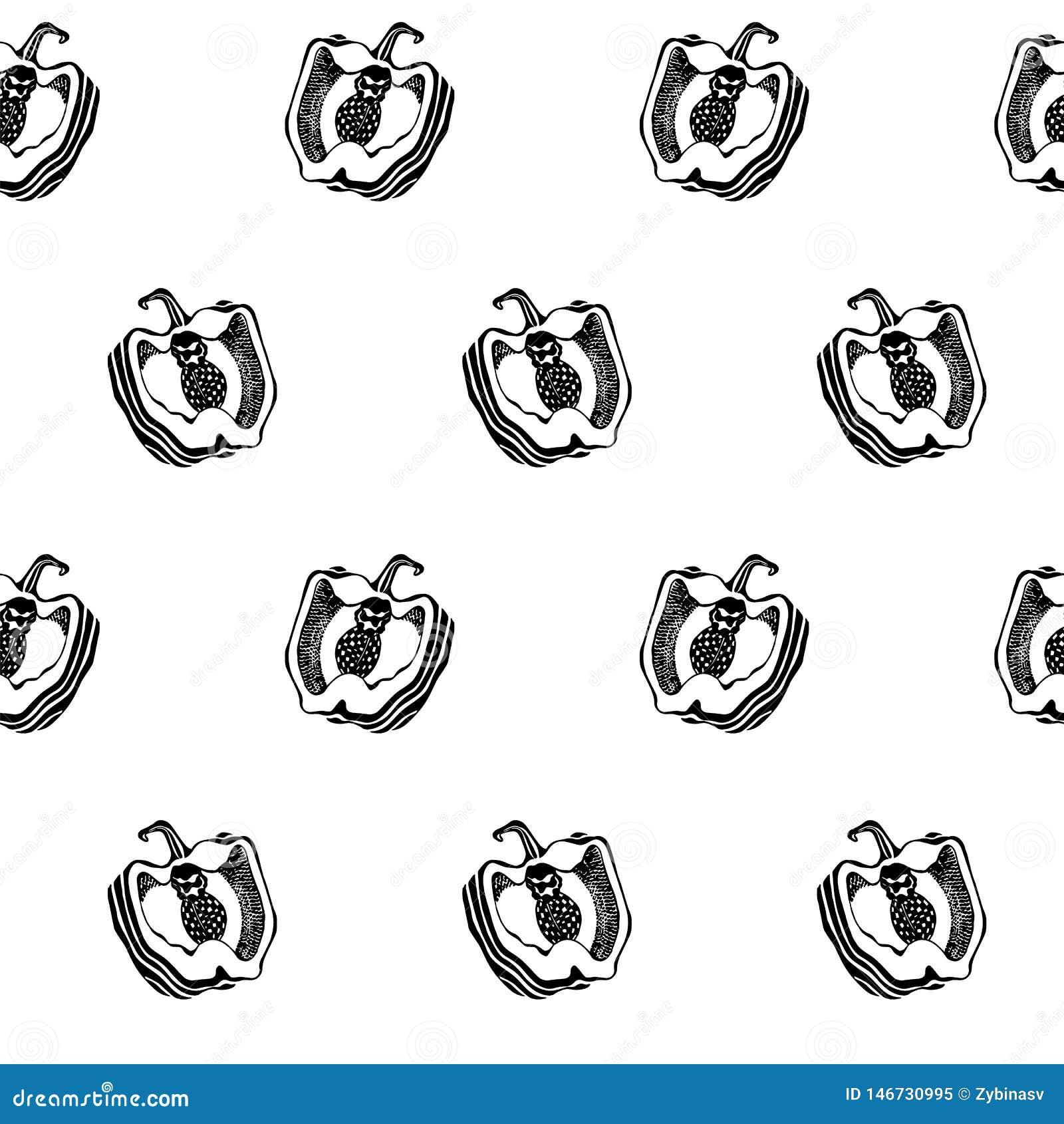 Schwarzweiss-Pfeffer Nahtlose Vektorbeschaffenheit des Küchenmusters graphiken