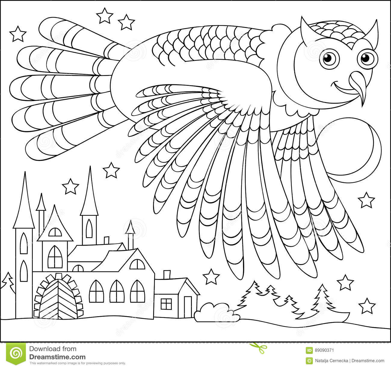 Schwarzweiss-Seite Für Die Färbung Zeichnung Des Eulenfliegens ...