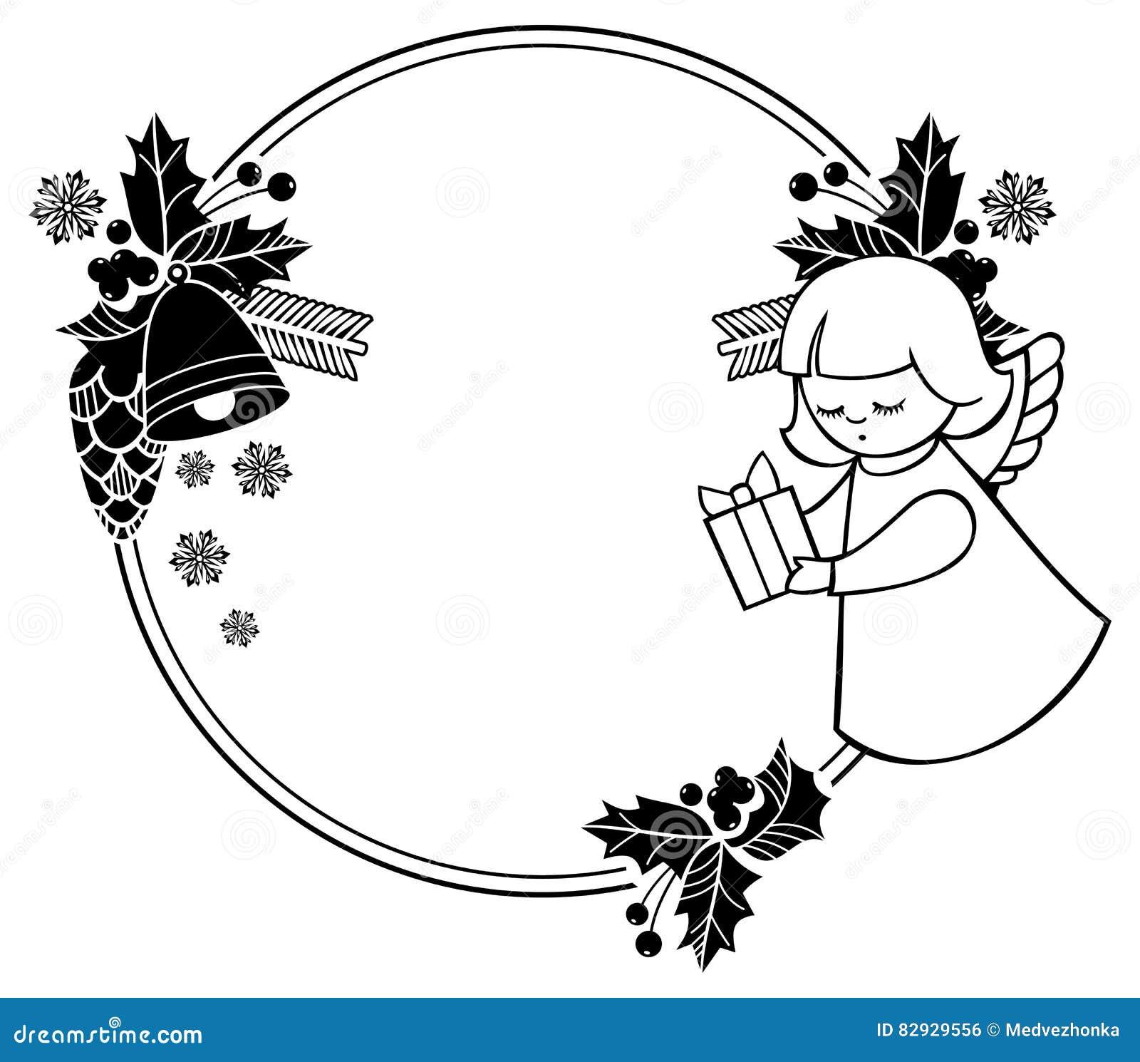 Schwarzweiss Weihnachtsrahmen Mit Nettem Engel Kopieren Sie