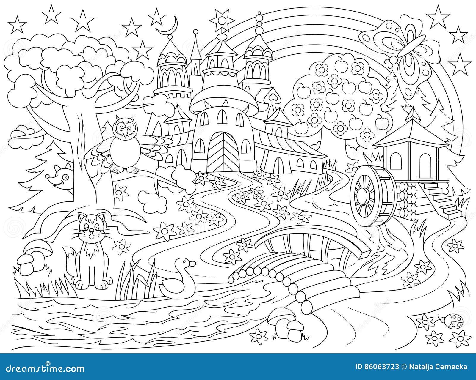 Schwarzweiss-Zeichnung Des Märchenlandlandes Mittelalterliches ...